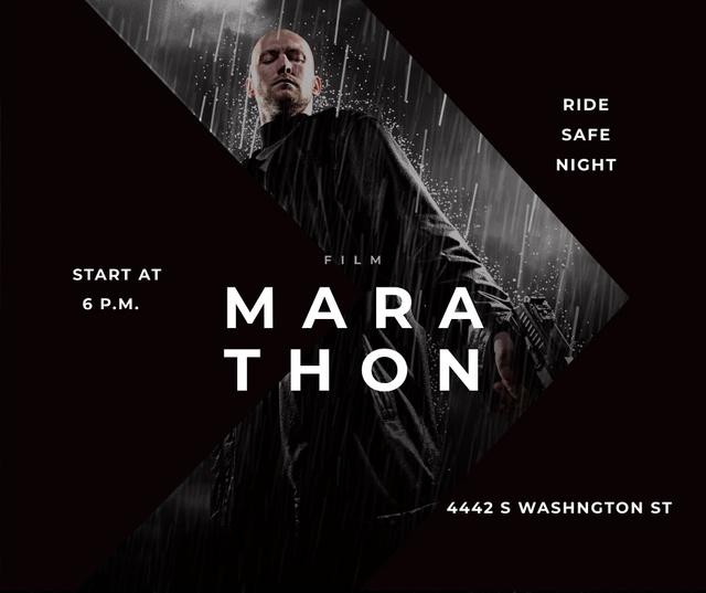 Film Marathon Ad Man with Gun under Rain Facebook – шаблон для дизайну