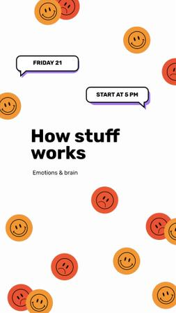 Designvorlage Psychology Lecture with Emoji für Instagram Video Story