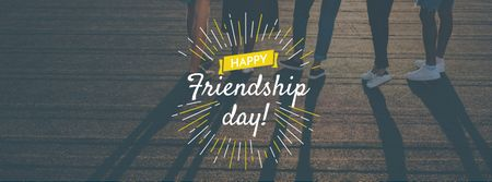 Friendship Day Greeting with Young People Together Facebook cover Design Template