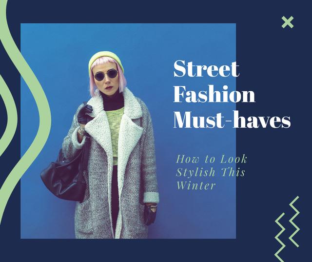 Fashion Trends Woman in Winter Clothes Facebook Modelo de Design
