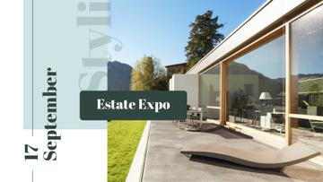 Expo Announcement with Modern House Facade