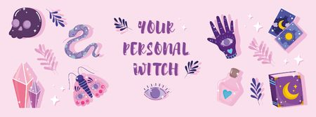 Astrological Inspiration with Cute Witch Set Facebook cover – шаблон для дизайну