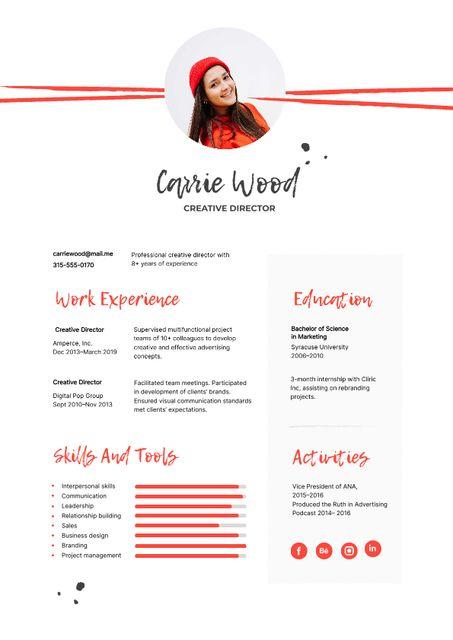 Plantilla de diseño de Creative Director skills and experience Resume