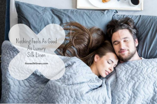 Luxury silk linen Offer with Sleeping Couple Gift Certificate Modelo de Design