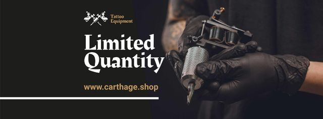 Tattoo Equipment Offer with Artist holding Machine Facebook cover Modelo de Design
