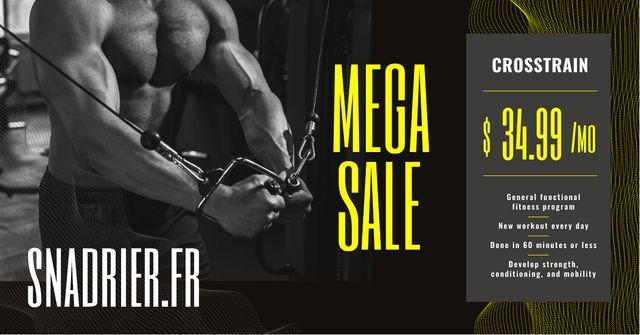Gym Offer Muscular Man Exercising Facebook AD Modelo de Design