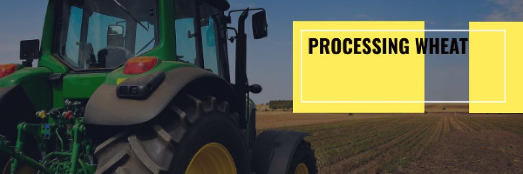 Agriculture with Tractor Working in Field Email header – шаблон для дизайна