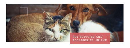 Plantilla de diseño de Pet Store ad with Cute animals Facebook cover