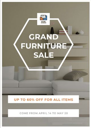 Plantilla de diseño de Furniture Sale Modern Interior in Light Colors Flayer