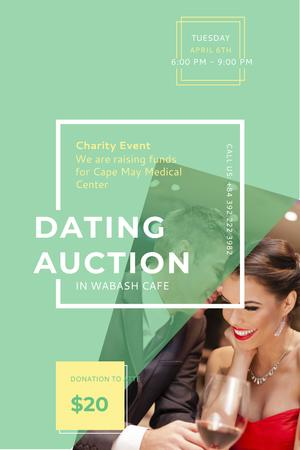 Ontwerpsjabloon van Pinterest van Dating Auction in Cafe
