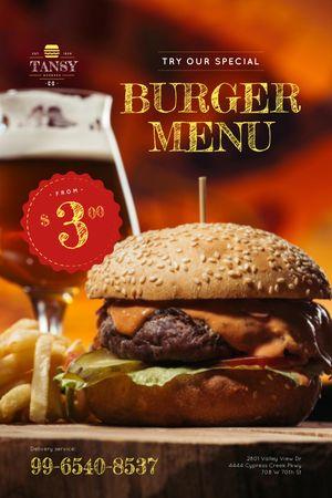 Fast Food Offer with Tasty Burger Tumblr Modelo de Design