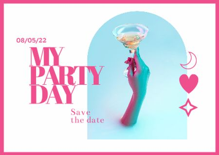 Template di design Party Announcement with Woman holding Cocktail Card