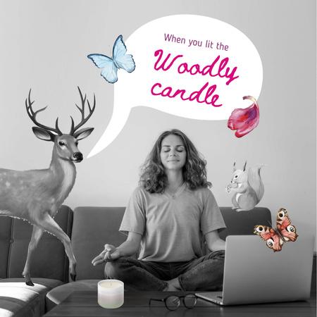 Modèle de visuel Woman meditating on Home Workplace - Instagram
