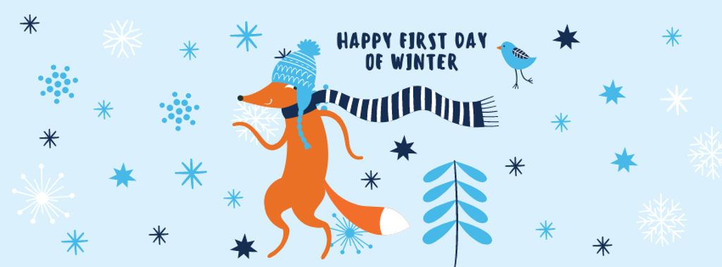 First Winter Day Greeting with Cute Fox Facebook cover – шаблон для дизайна