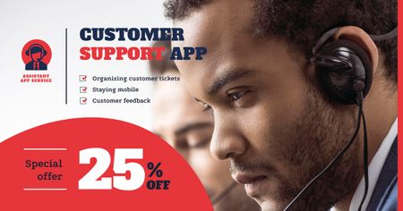 Customers Support Team Working in Headsets Facebook AD Modelo de Design
