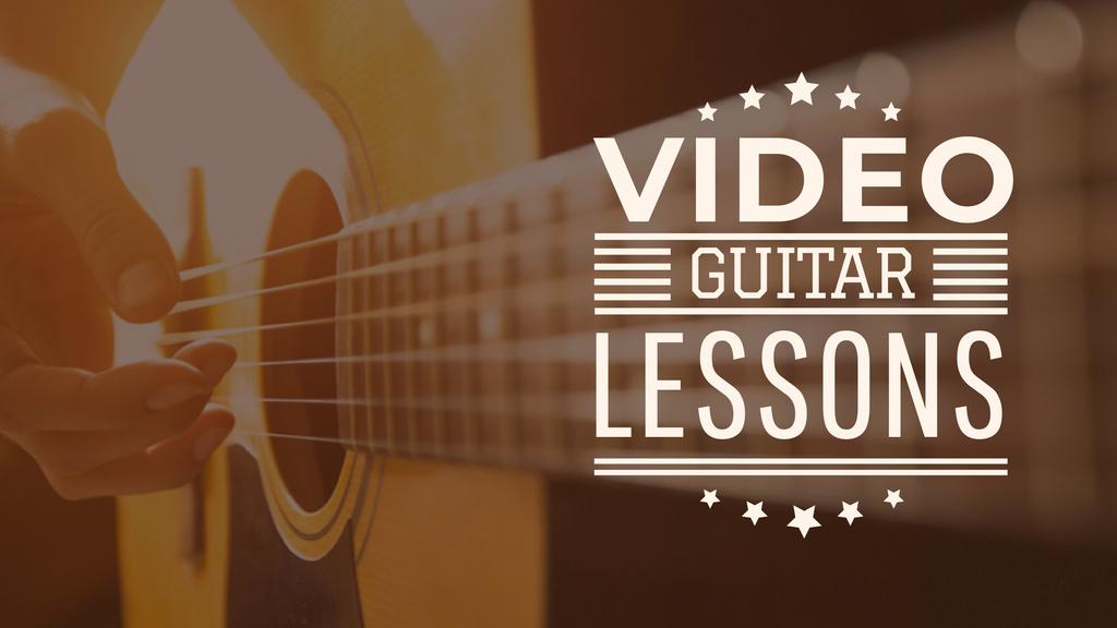 Music Lessons Ad with Man Playing Guitar — ein Design erstellen