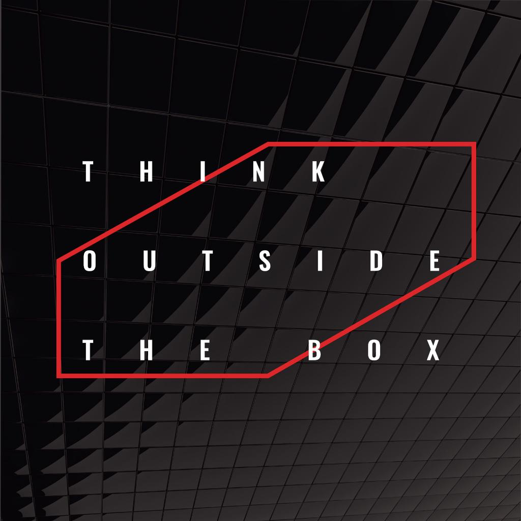 Think outside the box Quote on black tiles Instagram AD Design Template