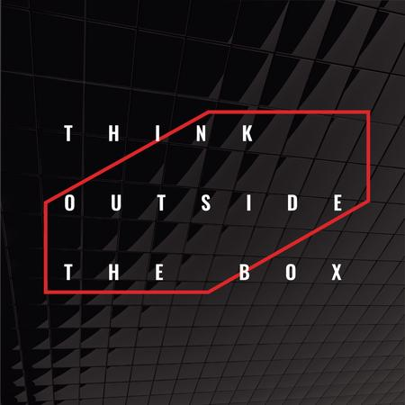 Think outside the box Quote on black tiles Instagram ADデザインテンプレート
