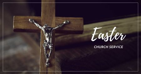 Plantilla de diseño de Church Service Offer on Easter with Cross Facebook AD