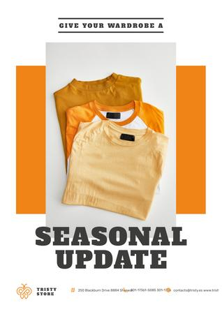 Clothes Store Ad with Basic T-shirts in Orange Poster Modelo de Design