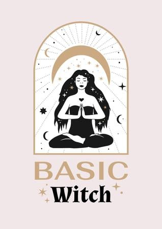 Astrological Inspiration with meditating Witch Poster – шаблон для дизайну