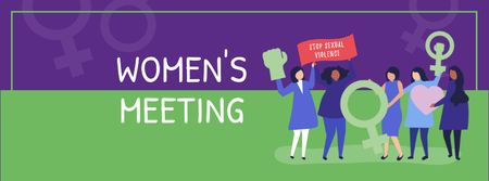 Women's Meeting Announcement Facebook cover Modelo de Design