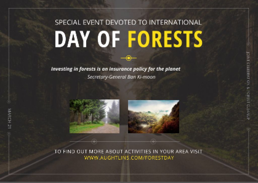 International Day of Forests Event Forest Road View — Maak een ontwerp