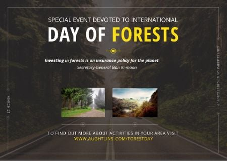 International Day of Forests Event Forest Road View Postcard – шаблон для дизайну