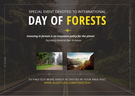 Plantilla de diseño de International Day of Forests Event Forest Road View Postcard