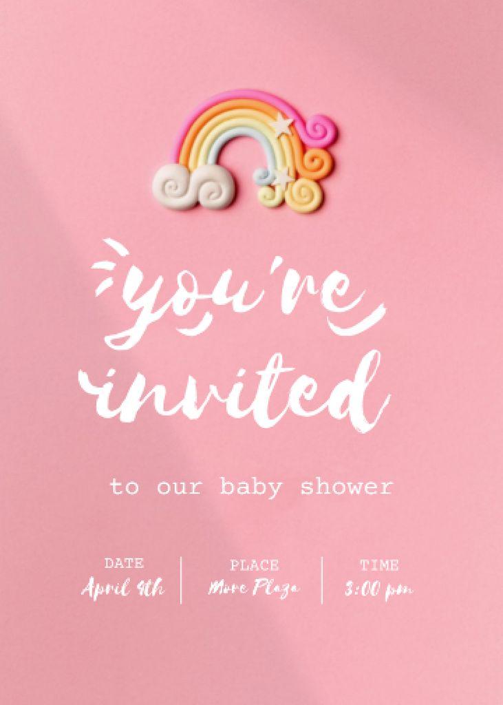 Baby Shower Announcement with Bright Rainbow Invitation Modelo de Design