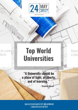 Universities guide on Blueprints Flayer Tasarım Şablonu