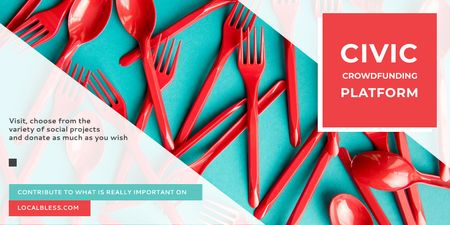 Crowdfunding Platform with Red Plastic Tableware Twitter – шаблон для дизайна