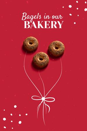 Cute Illustration of Bagels with Bow Pinterest Design Template