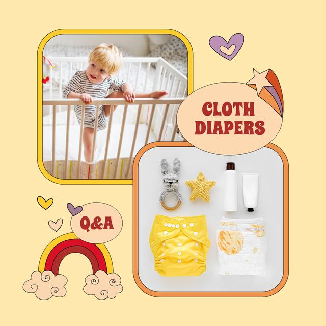 Ontwerpsjabloon van Instagram van Cloth Diapers Sale Offer with Cute Kid in Cot