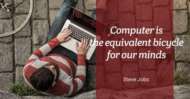 Modèle de visuel Motivational quote with young man using laptop - Facebook AD