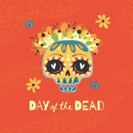 Day of the Dead Holiday Celebration with Ornament on Skull Animated Post – шаблон для дизайна