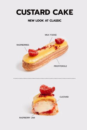 Ontwerpsjabloon van Pinterest van Custard Cake with Raspberries