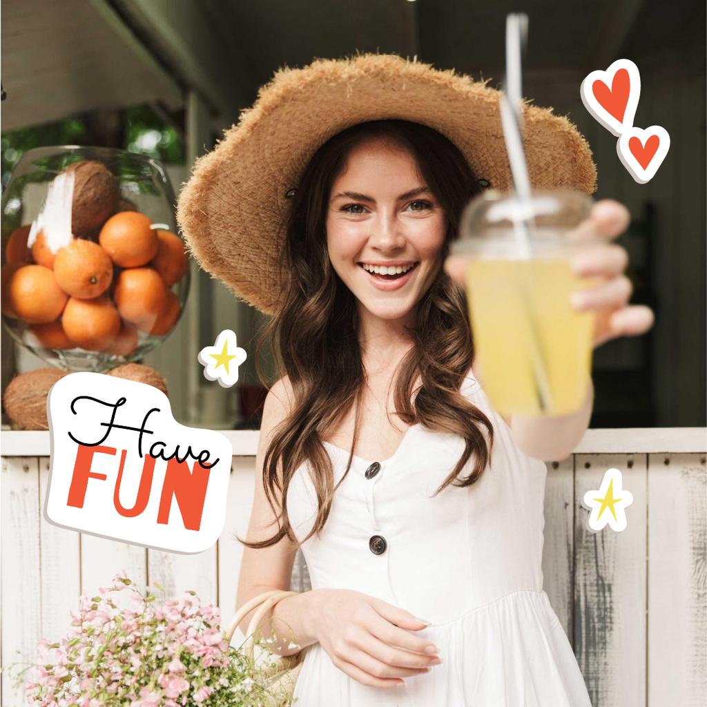 Smiling Woman with Juice Instagram – шаблон для дизайну