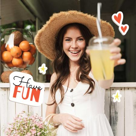Smiling Woman with Juice Instagramデザインテンプレート