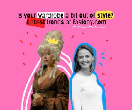 Funny Joke with Girl in Queen's Costume Medium Rectangle Πρότυπο σχεδίασης