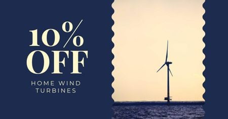 Ontwerpsjabloon van Facebook AD van Discount Offer with Wind turbine in Sea