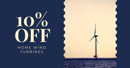 Discount Offer with Wind turbine in Sea Facebook AD Modelo de Design