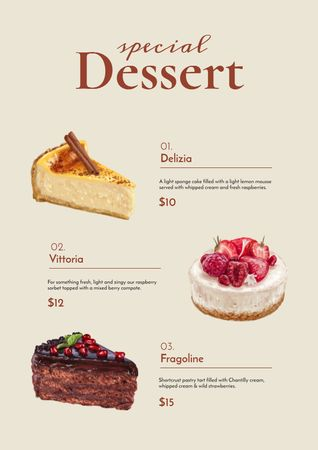 Bakery promotion with delicious Desserts Menu – шаблон для дизайну