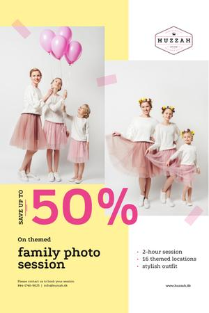 Family Photo Session Offer with Mother and Daughters Pinterest Design Template