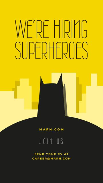 Batman silhouette on city background Instagram Story Modelo de Design