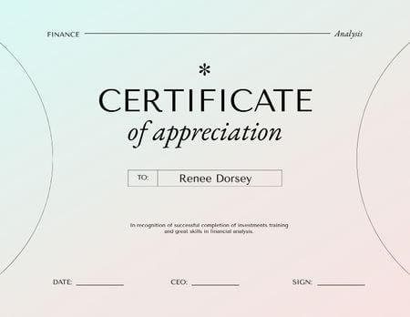 Designvorlage Finance Analysis program completion für Certificate