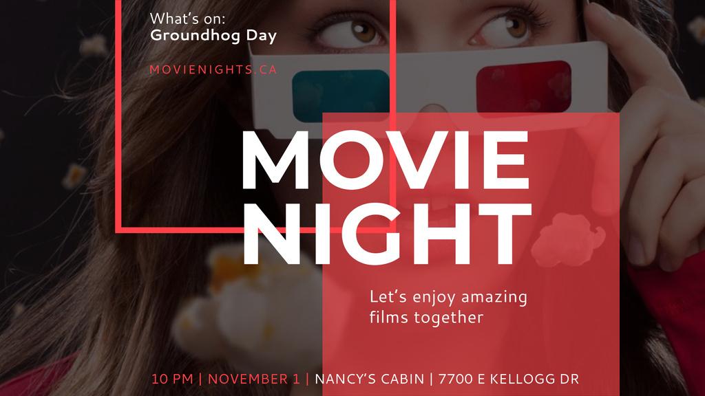 Movie Night Event Woman in Glasses — Crear un diseño