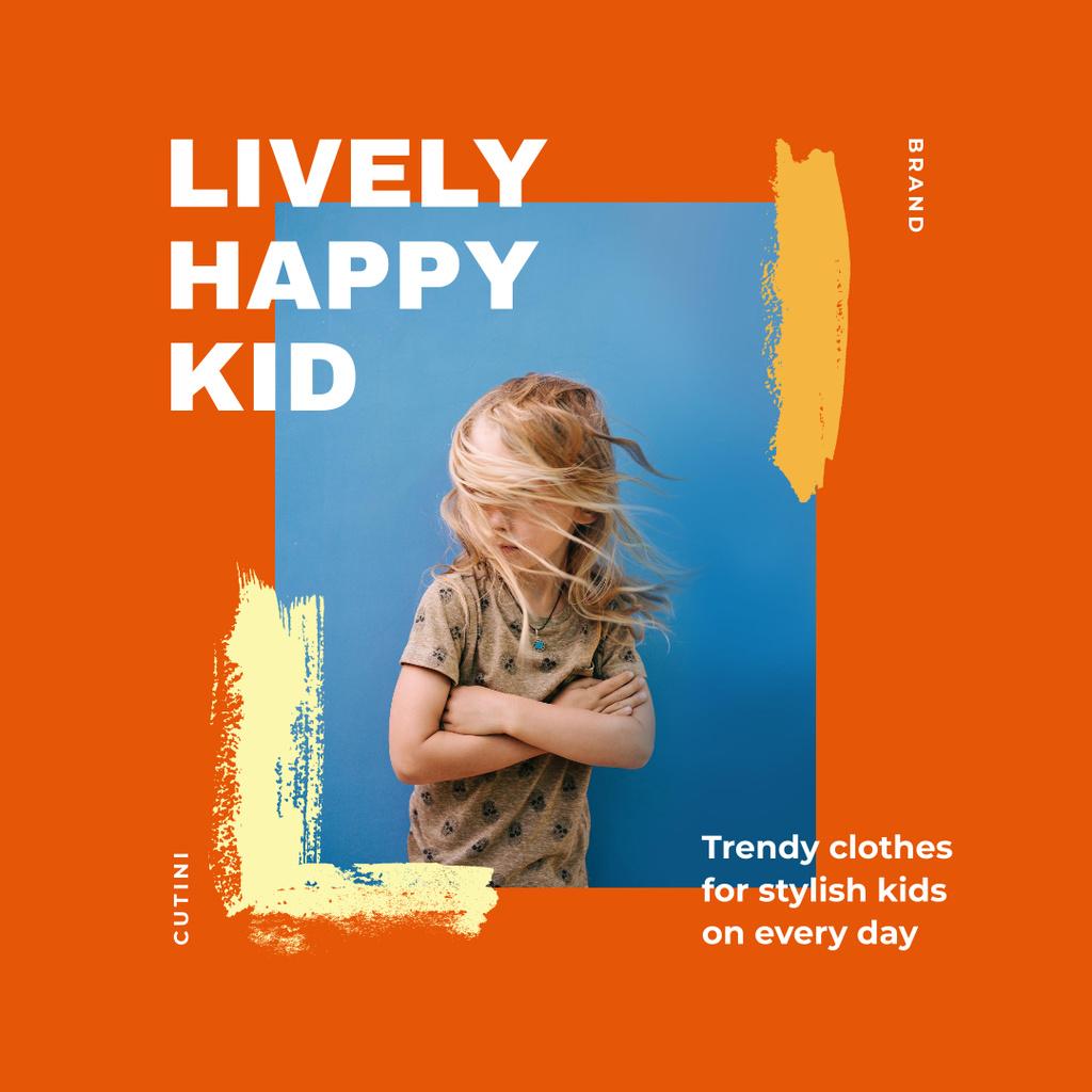 Trendy Kid's Clothes Offer with Stylish Little Girl Instagram Modelo de Design