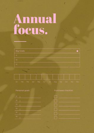 Annual Planning with Leaf Shadow Schedule Planner Modelo de Design