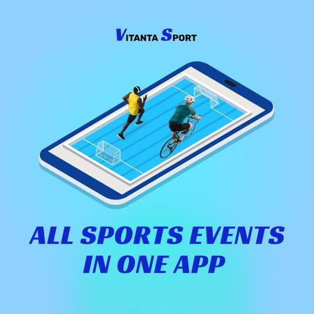 Sport App Ad with Players on Phone Screen Instagram Design Template
